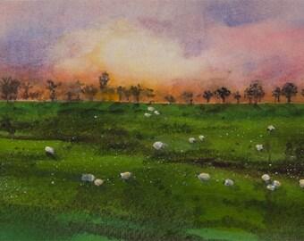 Evening Graze, Watercolor Print, Sunset, Sheep, Green Hills, Sky