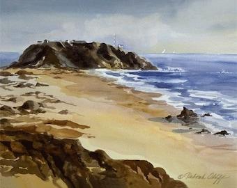 Point Sur Lighthouse // Beach // Watercolor // Big Sur Coast Print