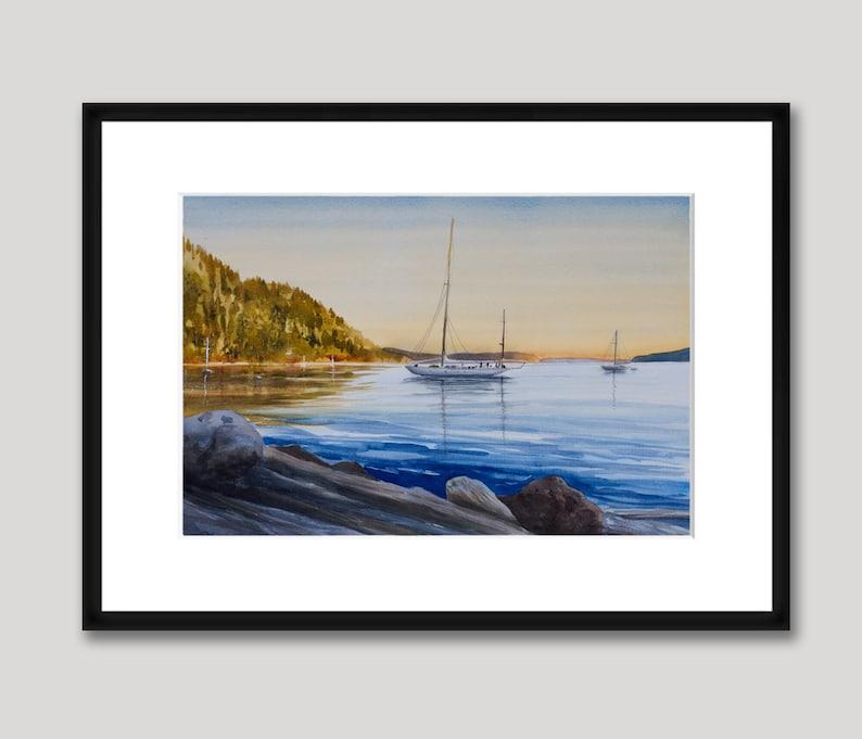 Orcas Island Cascade Bay Sunset San Juan Islands Sailboats Rosario Watercolor Gicl\u00e9e Print