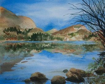 Loch Lubnaig, Watercolor Print,Scotland, Reflections, Trees, Hills, Blue, Lake