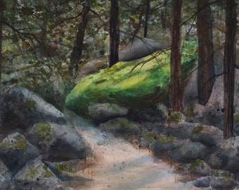 Hiking the Mist Trail, Watercolor Print, Yosemite, Shady Path, Moss, Green