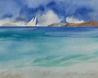 Islands II, Watercolor Print, Islands, Sailboats, Beach, Clouds, Summer day, Blue, Seascape