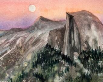 Half Dome Moonrise, Watercolor Print, Watercolor, Yosemite, Sunset, Moon