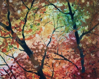 Looking Up, Watercolor Print, Fall, Autumn, Leaves, Trees, Green, Red, Orange, Yellow
