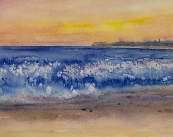 Seaside Sunset, Watercolor Print, Beach, Cardiff-by-the-Sea, California, Wave, Shore, San Diego