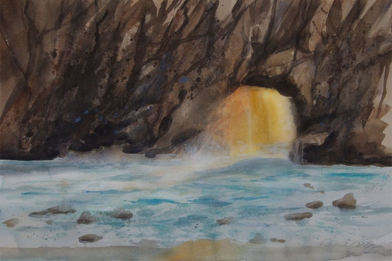 Pfeiffer Beach Watercolor Print, Big Sur, Seascape, Waves, Northern  California, Coastal