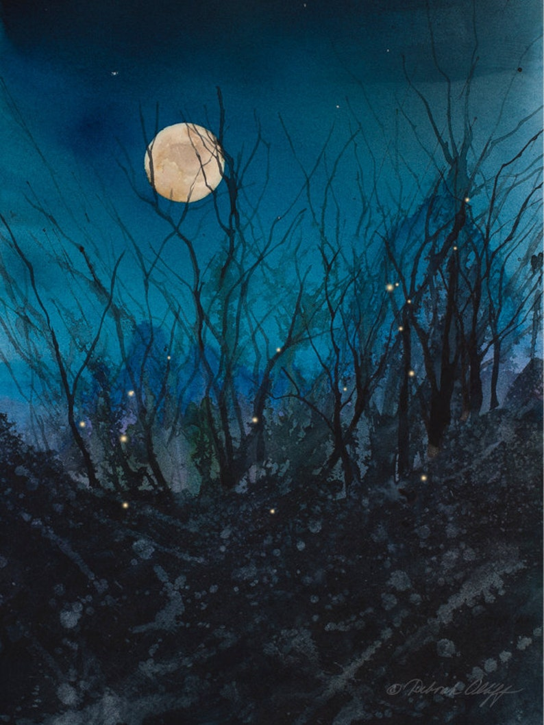 a3c5cb24674 Firefly Moon Watercolor Print Full Moon Night Sky