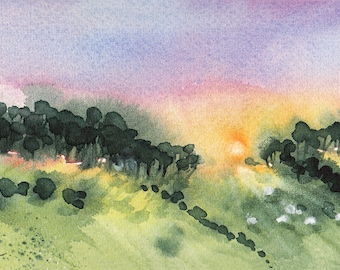 Sunset Grazing, Watercolor Print, Sheep, Hillside, Pastoral, Countryside