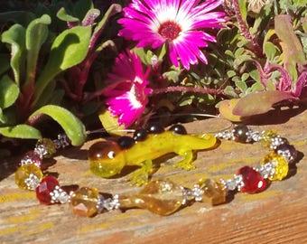 unique Gift patio Translucent yellow lampwork gecko suncatcher deck decoration garden glass lizzard window ornament