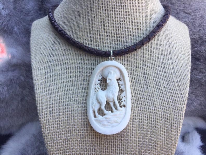 customize by cord color Hand carved bone wolf pendant on braided leather necklace length and pendant choice unique one of a kind gift