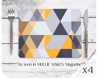 Scandi Geometric Placemats (4) - Scandi triangle Print - Grey and Mustard Placemats - Scandi Print Placemats - Scandinavian Modern - UK size