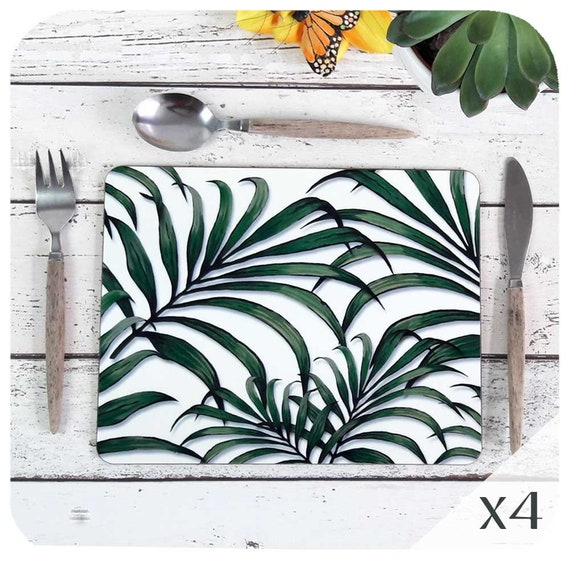 Palm Leaf Print Placemats Set Of 4 Tropical