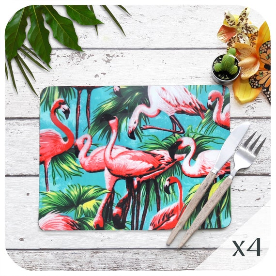 tropical home decor uk flamingo placemats set of 4 kitsch pink flamingo table place etsy  placemats set of 4 kitsch pink flamingo