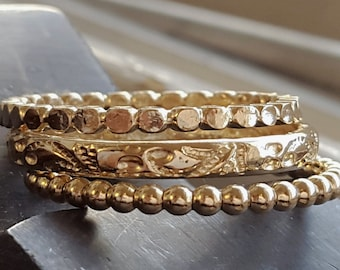 Vintage Style Rings - 14k Gold Filled Rings Set - Handmade