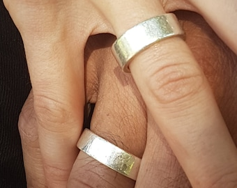 S&N Wedding Ring - 925 Silver Wide Band  - Handmade