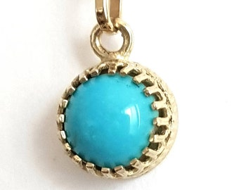 """Turquoise Necklace - Turquoise Pendant - 18"""" Long Chain - 14k Gold Necklace - Handmade"""
