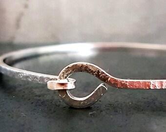 Knotted Bangle Bracelet, Silver Stacking Bangle, Silver Bracelets, Bangle Bracelet, Textured Bracelet, Handmade Bracelets,