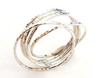 Interlocking Ring - 925 Silver Wedding Ring - Handmade