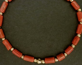 Coral Beaded Bracelet, Red Mediterranean Coral, Sardinian Coral, Handmade, Stretch Bracelet