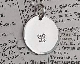 Personalized Silver Chain Necklace, Charmed Necklace, Initial Charm, Stamped Monogram, Handmade, Tag Charm, Silver Jewelry, Venexia Jewelry