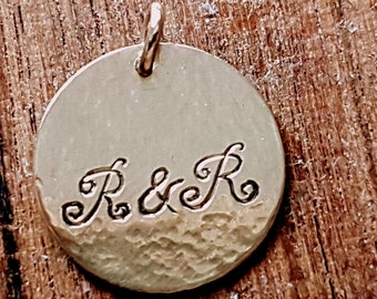 14k Gold Monogram Disk Pendant, 5/8 Inch Personalized Coin Tag Pendant, Handmade