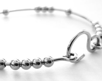 Silver Bangle Bracelet, 18 Chai Good Luck Bracelet, Stacking Bangle Bracelet, 18 Beads Bracelet, Handmade Bracelets, Venexia Jewelry