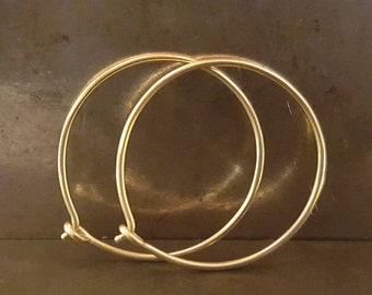 One-Inch Skinny Hoops - 9k 14k 18k 22k Gold - Handmade