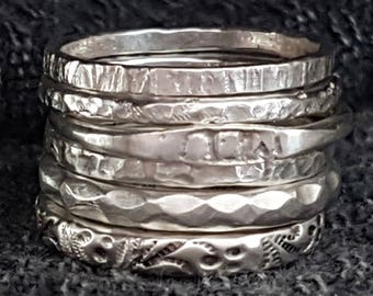 Silver Stacking Rings, Anniversary Gift, Silver Jewelry, Six Rings, Rings Set, Floral Pattern Ring, Hammered Band, Handmade Silver Rings