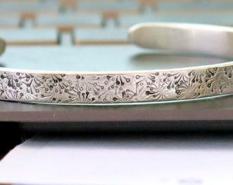 Dandelion Cuff - 925 Silver Bracelet - Handmade