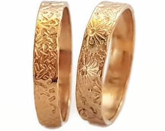 Wedding Band Ring, Choice of Pattern, 14k Gold Band, Unisex Rings