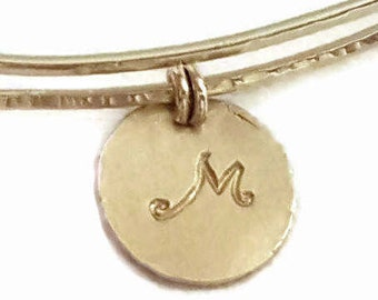 14k Gold Charmed Bangle Bracelet, Personalized Stamped Initial Adjustable Handmade