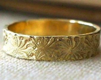 14k Gold Dandelion Ring - Handmade