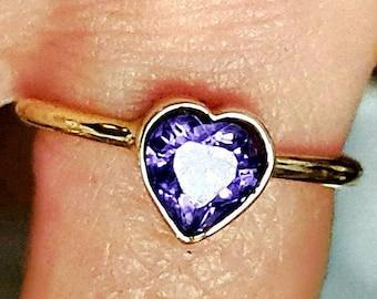 Amethyst Heart Ring - 14k Gold Ring - Handmade