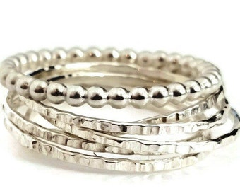 Russian Silver Ring, Engagement Rings, Interlocking Ring, Beaded Ring, Wedding Silver Rings, Stacking Rings, Silver Jewelry, Handmade Rings