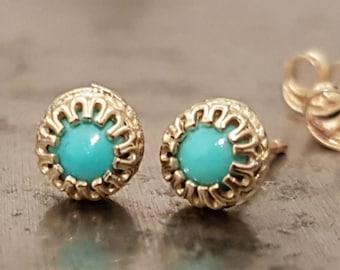 Turquoise Stud Earrings - 14K Gold Studs - Dainty Earrings - December Birthstone Earrings - Minimalist Jewelry - Venexia Jewelry