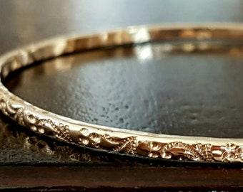 Vintage Flower Bangle - 14k Gold Filled Bangle - Stacking Bracelet - Handmade Bangle