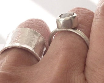 Silver Hammered Ring - 14mm Wide Ring - Handmade