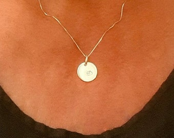 """Initial Necklace - Personalized Charm - 925 Silver or 14k Gold Filled Choice - 16'' 18"""" 20"""" Long Chain - Handmade"""