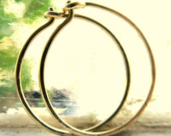 Large Hoop Earrings 14k Yellow Gold Classic Modern Timeless Handmade