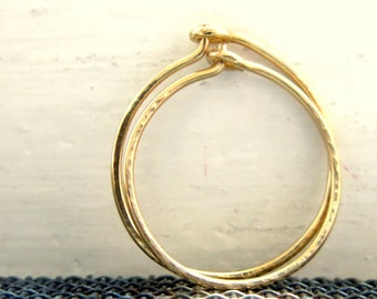 Gold Hoop Earrings, Classic Small Thin Hoops. Handmade