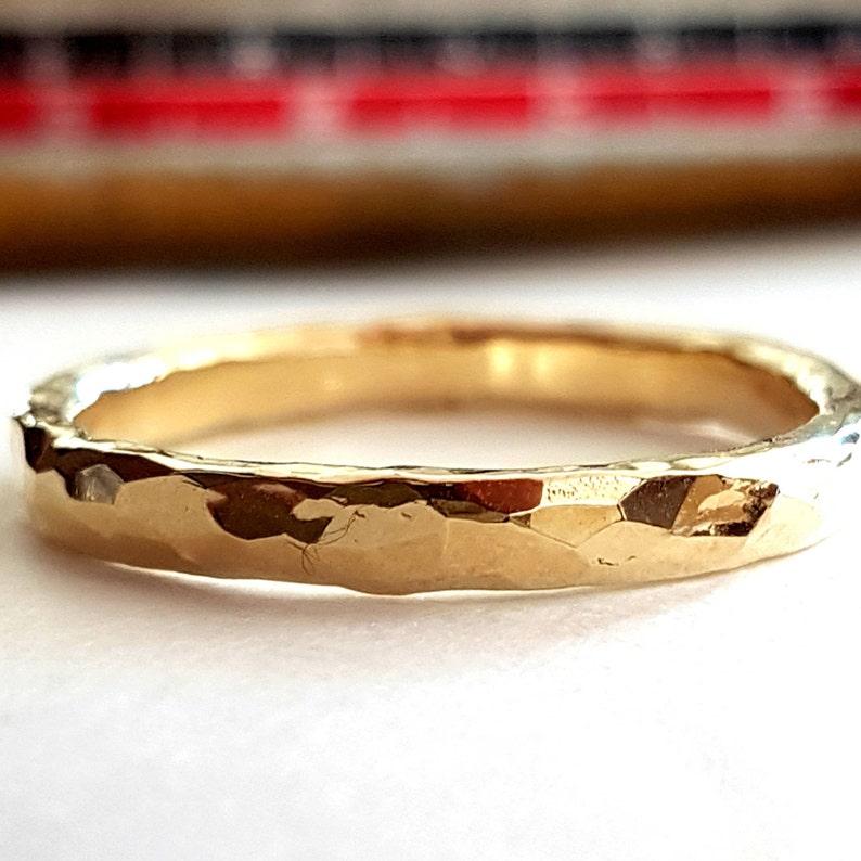 14k Gold Men's Wedding Faceted Band image 0