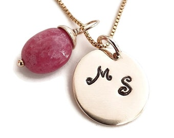 Charm Necklace - Stamped Monogram Disc - Ruby Charm - Handmade