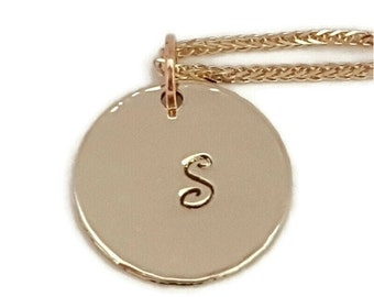 """14k Gold Initial Necklace -16"""" Long Chain - Personalized Letter - Anniversary Gift - Handmade"""