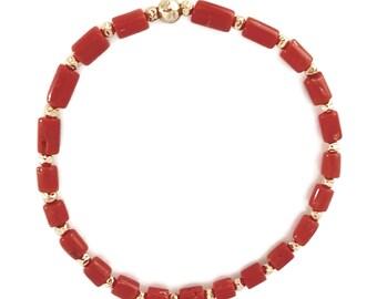 Natural Coral Bracelet - Stretch Fit Bracelet - Handmade