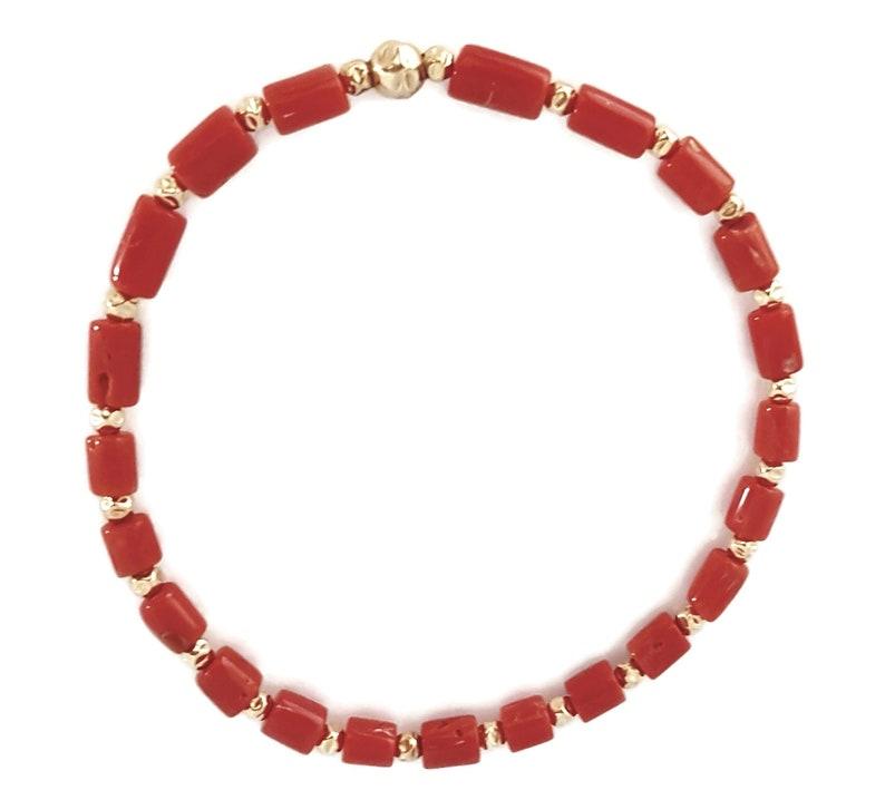 Coral & Gold Bracelet image 0
