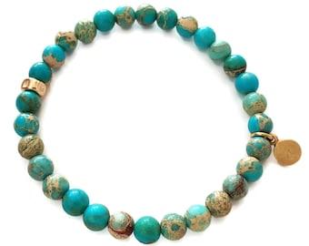 Blue Imperial Jasper Bracelet - Stretch Fit Bracelet - Handmade