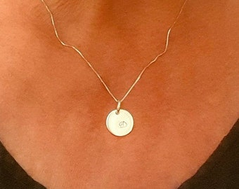 """Initial Necklace - Personalized Charm - 925 Silver or Gold Filled Choice - 16'' 18"""" 20"""" Long Chain - Handmade"""
