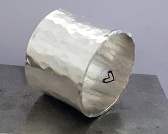 Silver Wide Band Ring Hidden Heart, Handmade Cigar Band Ring