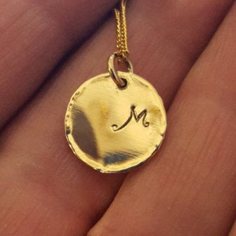 Initial Disc Necklace in 14k Gold 14k Solid Gold