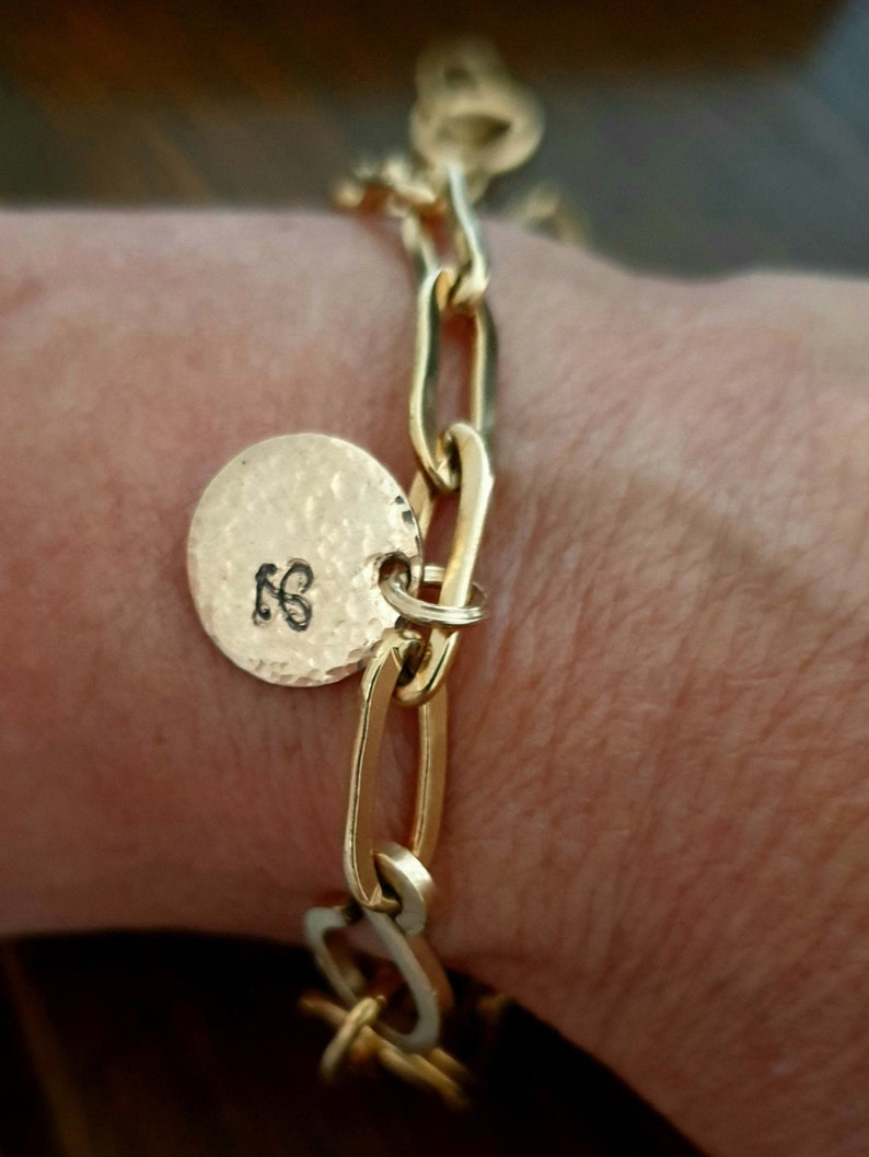 Initial & Date Bracelet  Chunky Chain Bracelet  Gold Filled initial and date